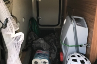 Cluttered trunk of my RV (not ideal)
